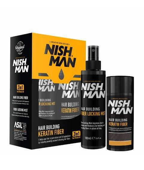 Nishman-Hair Building Keratin Fiber LIGHT BROWN Zestaw Kosmetyków Koloryzujących i Maskujących Łysienie