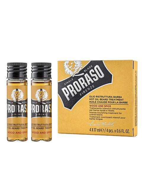 Proraso-Beard Hot Oil Olejek do Brody Wood & Spice 4x17 ml