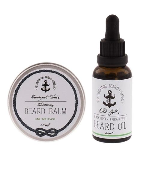 The Brighton Beard Co-Beard Balm & Oil LIME AND BASIL/ BLACK PEPPER & GRAPEFRUIT Zestaw Brodacza
